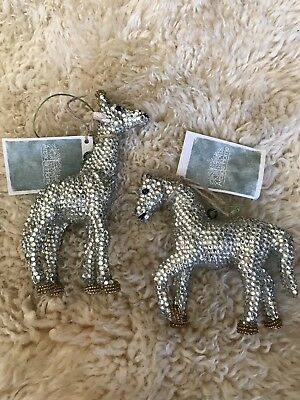 Nwt Unique Handcrafted Beaded 2Pc Set Horse And Giraffe Christmas Ornaments