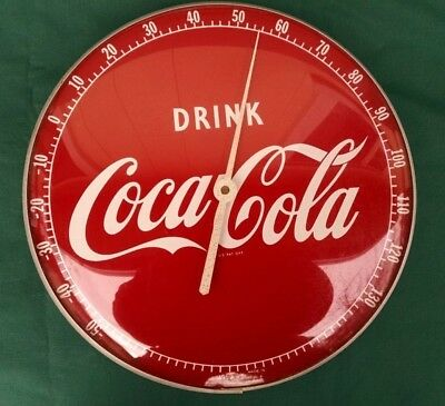 """1950s vintage Coke Coca Cola 12"""" dia thermometer glass front advertising sign"""