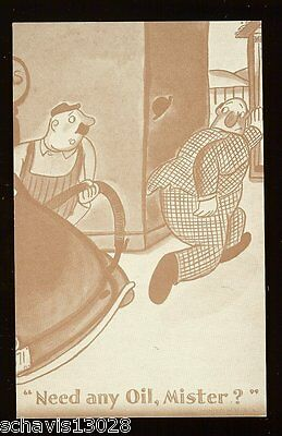 Need any Oil Mister Gas Pump Station Attendant Constipation Bathroom Old Card Ad