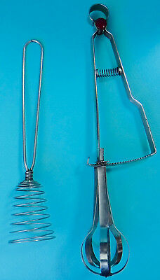 2 Vintage Metal Hand-Mixers Eggbeaters (1 Rotary, 1 Spring)