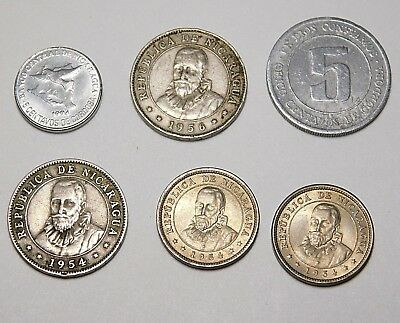 Lot of 6 Nicaragua 1954 1956 1974 1994 5 & 10 Centavos Coin