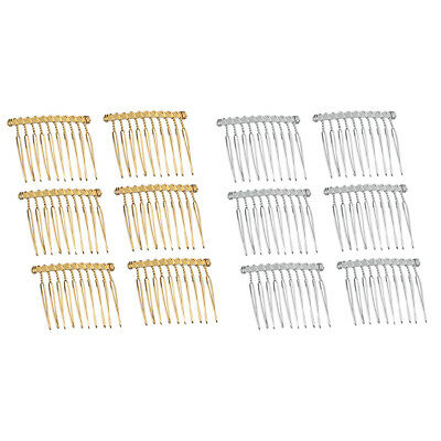 6x Blank Metal Hair Clips Side Combs 10 Teeth DIY Hair Jewelry Findings