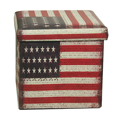 Folding Stool Box Ottomans Chest Toy Storage Foot Seat Stars and stripes