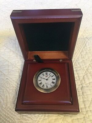 Vintage AM WOODEN BOX BRASS DESK CLOCK BY MAKERS TO ADMIRALTY MERMAID
