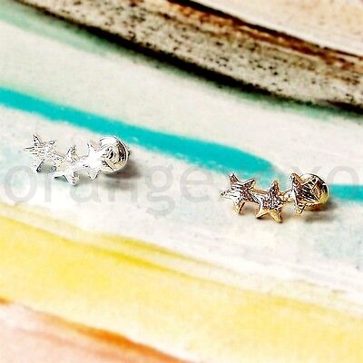 New Gold / Silver Plated Brass Tiny Small Triple Stars 3-star Stud Earrings