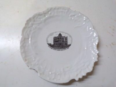 Old China Picture Souvenir Plate Citizen's State Bank Ness City Kansas