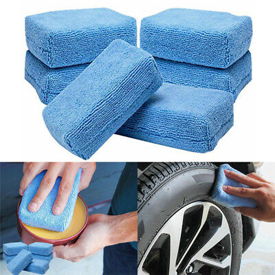 5x Car Microfiber Applicators Sponges Cloths Microfibre Hand Wax Polishing Pad E
