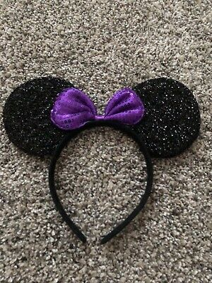 Children's Disney inspired Minnie Mouse Purple sequin Bow Headband Ears