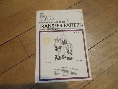 VTG PRETTY PUNCH 3 Candles Hot Iron Transfer Pattern #1095