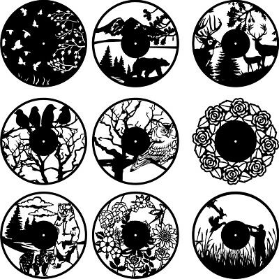 DXF CDR and EPS File For CNC Plasma or Laser Cut Wild Life Clocks- Cutting Files