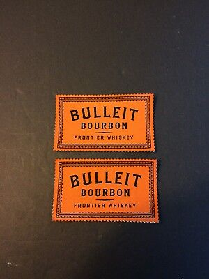 Two Bulleit Bourbon Frontier Whiskey - Cloth Patch Stickers.