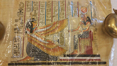 Private Sale: 2 NEW EGYPTIAN PAINTINGS ON PAPYRUS: Ramses Chariot & Winged Ma'at