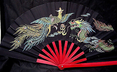 """12.75"""" Red Lacquer Bamboo Chinese Folding Fan PHOENIX DRAGON Colorful EUC GIFT"""