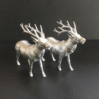 Rare ~ Vintage ~ Japan ~ Pair Of Deer Stag Elk Reindeer Figures ~ Christmas