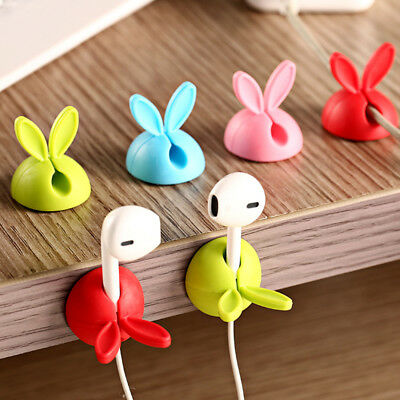 4PCS Bunny Ear Rabbit Cable Clip Cord Wire Coil Organizer Tie Holder Tidy Drop