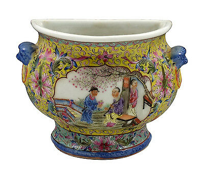 Signed Early Republic Period Chinese Famille Rose Porcelain Wall Vase