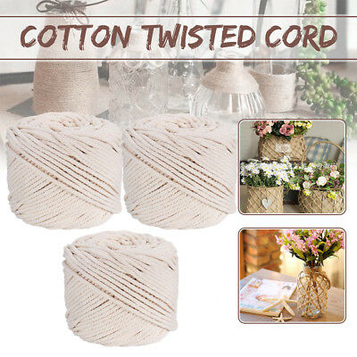 1 x 2/3/4/5mm Macrame Rope 100% Natural Beige Cotton Twisted Cord  DIY Craft