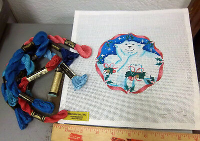 Handpainted Needlepoint canvas, Needlepoint Inc, Polar Bear Ornament with thread