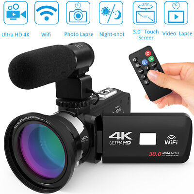 ULTRA 4K HD 1080P WiFi 48MP Digital Video Camera Camcorder Recorder DV+Mic+Lens