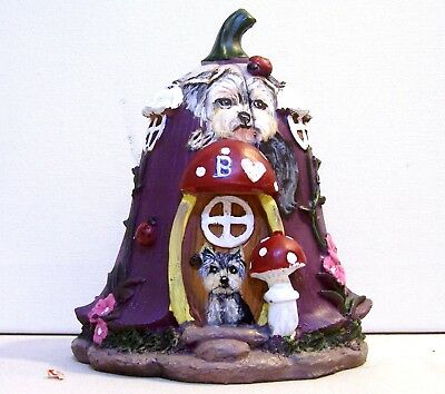 """Yorkie original hand painted bell floral roof fairy house 7"""" tall"""