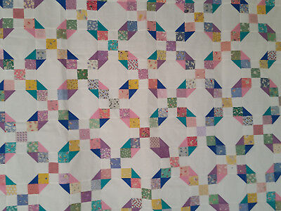 """Unfinished Quilt Top- Snowball Nine Patch, Asst Colors, approx 67"""" x 79"""""""