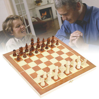 Chess Hand Crafted Cherry Wooden Chess And Draughts Set 34cm x 34cm UK