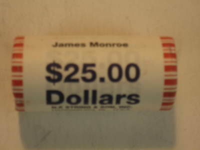 1 Roll  2007 P James Monroe Dollars (25 Coins) Bank Roll Uncirculated.