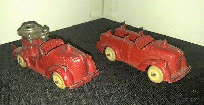 "Vintage HUBLEY 4"" Red Fire Truck VG/VG+ LOT of 2"