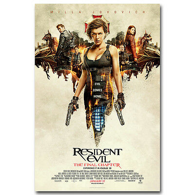 Resident Evil The Final Chapter Movie Silk Poster Print 13×20 32×48 inch