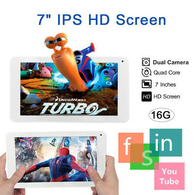 "NEW 7"" INCH Bluetooth TABLET PC FAST HD SCREEN WIFI ANDROID 16GB Quad Core 2 Cam"