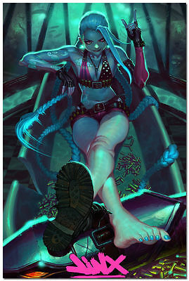 League of Legends LOL Jinx Hero Game Art Silk Fabric Poster 13x20 24x36 inch