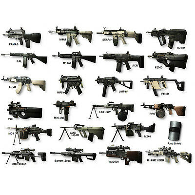 Guns Chart Weapons of MW2 Military Silk Poster 20x27 inch