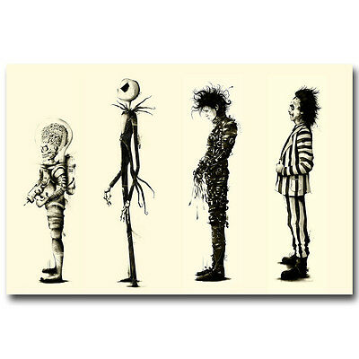 Tim burton Films Beetlejuice Movie Art Silk Poster Print Edward Scissorhands