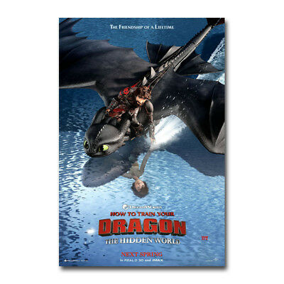 How to Train Your Dragon 3 The Hidden World Hot Movie Art Silk Poster Prints