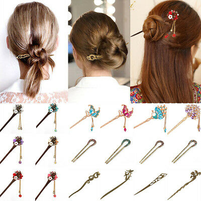 Chinese Traditional Women Crystal Hair Chopsticks Hair Stick Hairpin Chignon Pin