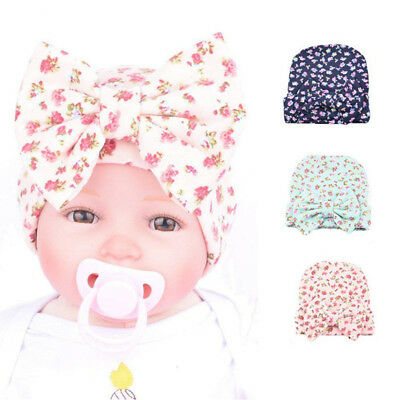Newborn Baby Kids Girls Floral Nursery Beanie Hat Hospital Hat with Bow Headwear
