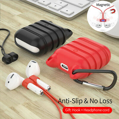 Magnetic Strap Anti Lost Case For Apple AirPods Earphones Protective Cover Hook