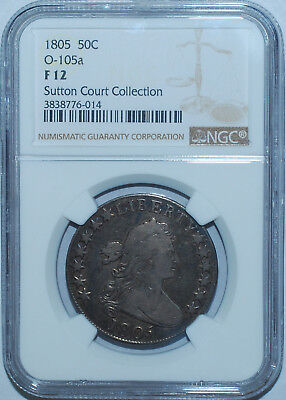 1805 NGC F12 O-105a T-12 R.6 Tompkins Die Stage 4 Draped Bust Half Dollar
