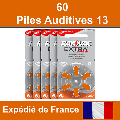 60 piles auditives Rayovac 13 / pile auditive 1.45V / pile pour appareil auditif
