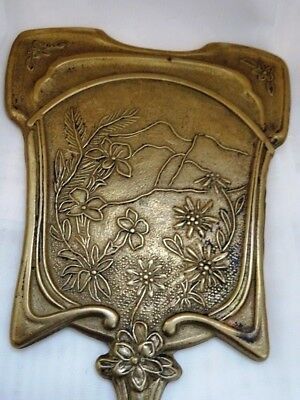 antique mirror ART DECO purse mirror Art Nouveau Hand Held Vanity Mirror FLORAL