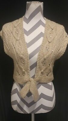 Loft cropped cable knit beige sweater ties at front Sleeveless size XS