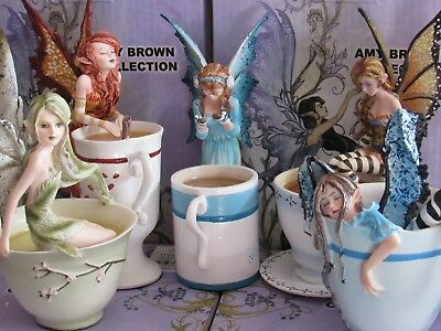 Amy Brown 5 piece cup fairy figurine Warm toes, Hot Cocoa, I need coffee 2 more!