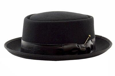 Scala Classico Men's Fashion Black Crushable Wool Porkpie Hat