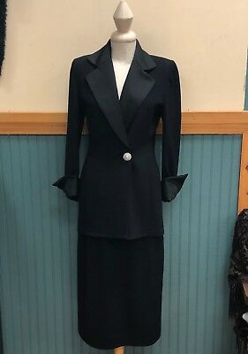 St John Collection Formal Evening Black knit skirt and blazer jacket size 6