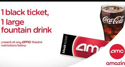 AMC Black Movie Ticket and Large Fountain Drink