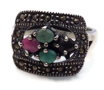 "BYZANTINE SILVER STYLE RING #5 with FOUR PRECIOUS STONES 11/16"" OPENING"