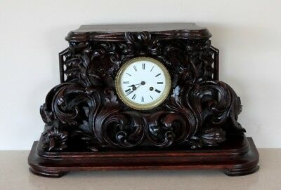 Antique Mahogany Highly Carved 19Th Century Black Forest Clock C1870 Will Post