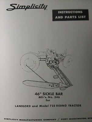 Simplicity 700 Allis Chalmers B-1 Tractor  Sickle Bar Mower Owner & Parts Manual