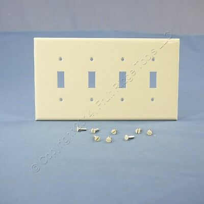 Cooper Lt Almond 4-Gang Mid-Size UNBREAKABLE Toggle Switch Wallplate Cover PJ4LA