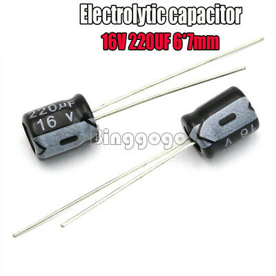 50PCS 220uF 16V 105C Radial Electrolytic Capacitor 6X7mm 6*7mm